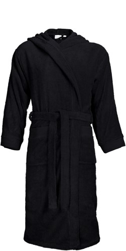 T1-BH Bathrobe hooded - Black - S/M