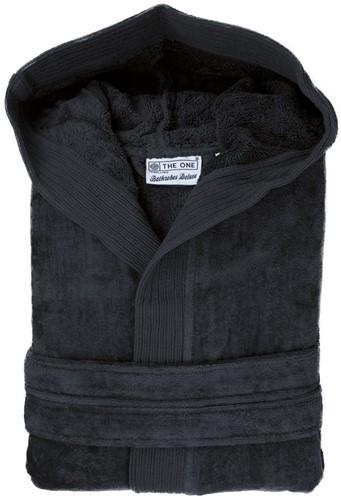T1-BVELOUR Velour bathrobe hooded - Anthracite - L/XL