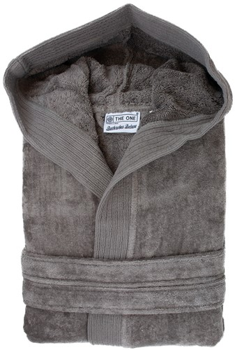 T1-BVELOUR Velour bathrobe hooded - Taupe - L/XL