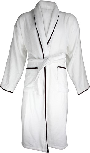 T1-BVELOURW Velour bathrobe piped - White/black - 2XL/3XL