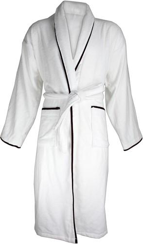 T1-BVELOURW Velour bathrobe piped - White/black - L/XL