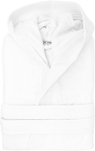 T1-BVELOUR Velour bathrobe hooded - White - L/XL