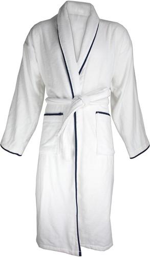 T1-BVELOURW Velour bathrobe piped - White/navy blue - 2XL/3XL
