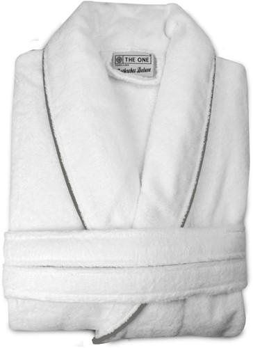 T1-BVELOURW Velour bathrobe piped - White/taupe - S/M