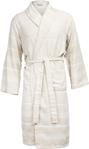 T1-HAMBATH Hamam bathrobe - Beige/white - 2XL/3XL