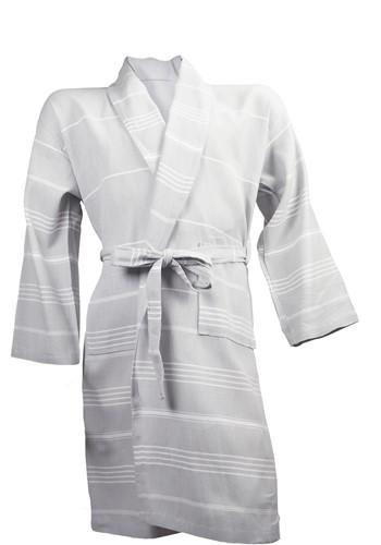 T1-HAMBATH Hamam bathrobe  - Light grey/white - S/M