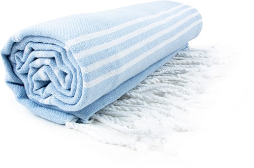 T1-HAMSULTAN Hamam sultan towel - Light blue/white - 100 x 180 cm