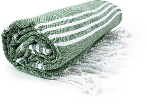 T1-HAMSULTAN Hamam sultan towel - Olive green/white - 100 x 180 cm