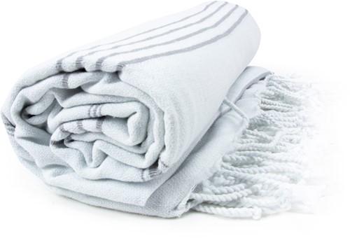 T1-HAMSULTAN Hamam sultan towel - White/grey - 100 x 180 cm
