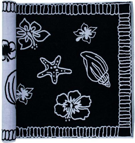 T1-HAWAII Beach towel hawaii - Black/white - 90 x 190 cm