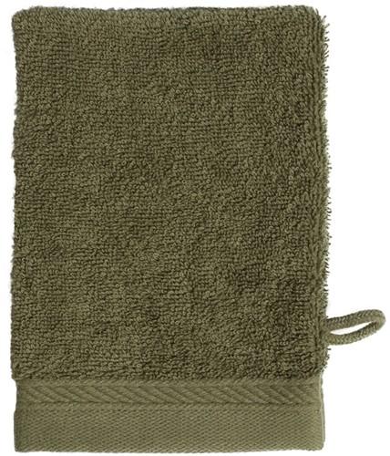 T1-ORGWASH Organic washcloth - Olive green - 16 x 21 cm