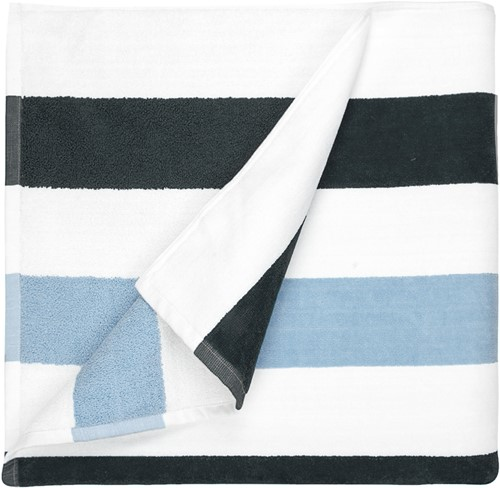 T1-STRIPE Beach towel stripe - Anthracite/light blue - 90 x 190cm