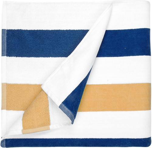 T1-STRIPE Beach towel stripe - Navy blue/gold - 90 x 190 cm