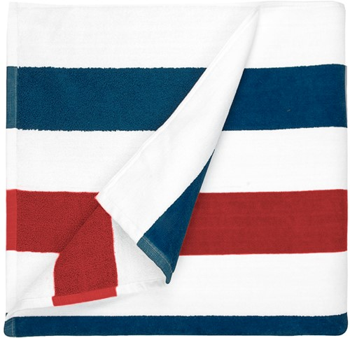 T1-STRIPE Beach towel stripe - Navy blue/red - 90 x 190 cm