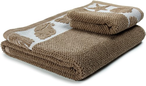 T1-SUMMER60 Exclusive towel - White/warm taupe - 60 x 110 cm
