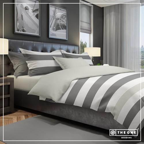 T1-BSTRIPE200 Bedset Stripe - Dark grey / light grey - 200 x 220 cm
