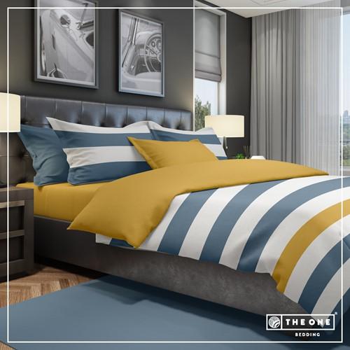 T1-BSTRIPE140 Bedset Stripe - Indigo blue / gold - 140 x 220 cm