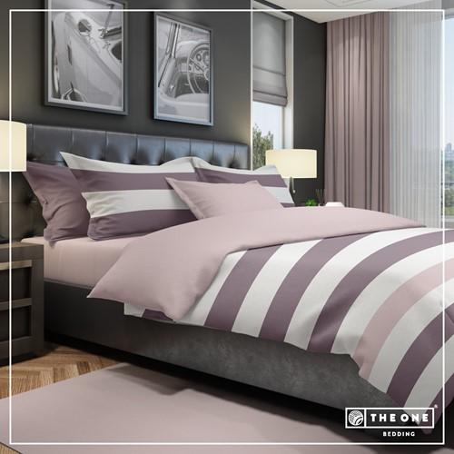T1-BSTRIPE140 Bedset Stripe - Plum / mauve - 140 x 220 cm