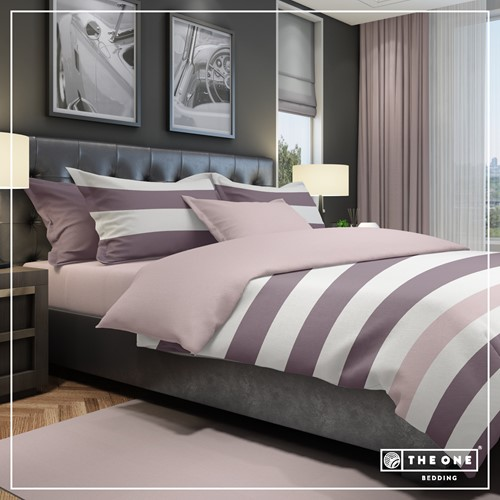 T1-BSTRIPE200 Bedset Stripe - Plum / mauve - 200 x 220 cm