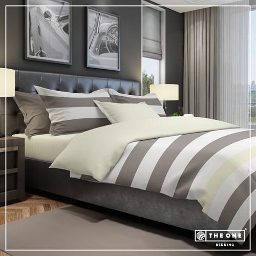 T1-BSTRIPE140 Bedset Stripe - Taupe / cream - 140 x 220 cm