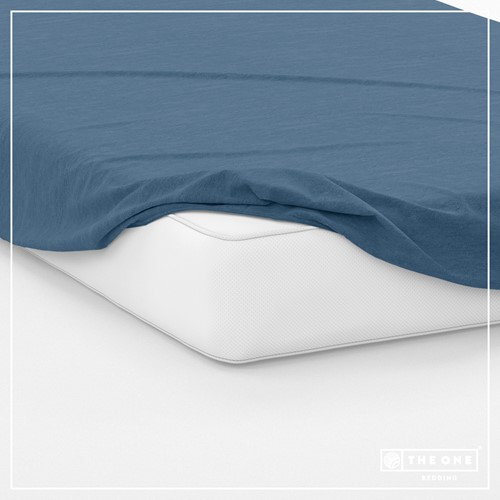 T1-FS160 Fitted Sheets - Indigo blue - 160 x 220 cm