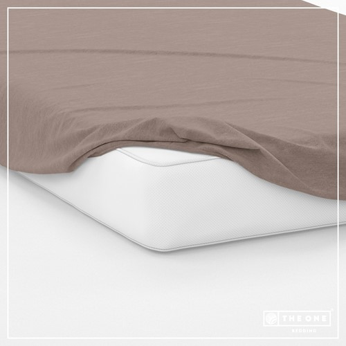 T1-FS200 Fitted Sheets - Taupe - 200 x 220 cm